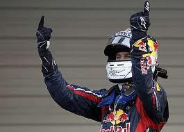 Selebrasi Sebastian Vettel setelah menjadi juara kali kedua